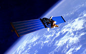 Communication Satellite over the Earth