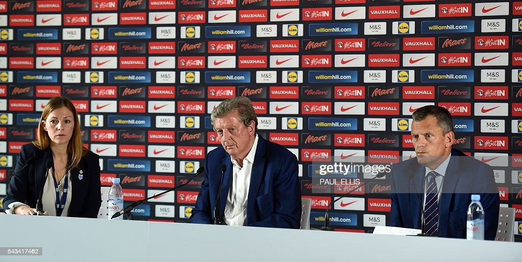 Communications Director at The Football Association Amanda Docherty, England manager Roy Hodgson and the Football Association's CEO Martin Glenn attend a press conference in Chantilly, northern France, on June 28, 2016, after Hodgson's resignation following the team's 2-1 defeat to Iceland during the Euro 2016 football tournament. / AFP / PAUL