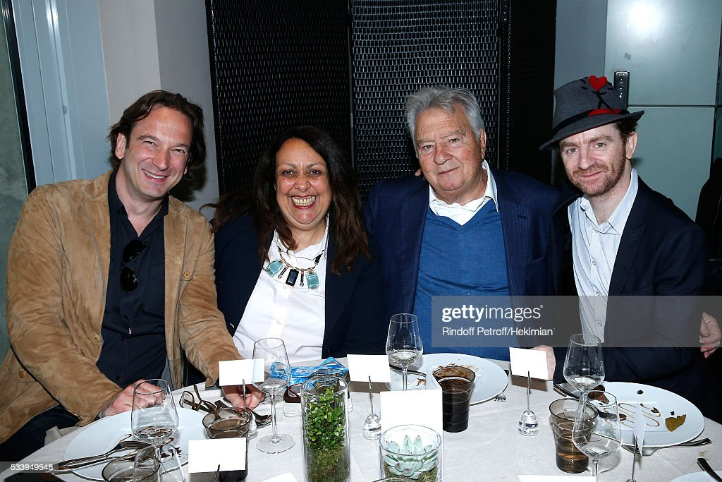 Communications Director of France Televisions Nilou Soyeux, President of Editions Albin Michel, editor of Mathias' book, Francis Esmenard and Singer of Dionysos and Auteur of the book 'Journal d'un vampire en pyjama', 'Prix Litteraire des Essais France Television 2016', Mathias Malzieu attend the 'France Television' Lunch during the 2016 French Tennis Open - Day Three at Roland Garros on May 24, 2016 in Paris, France.