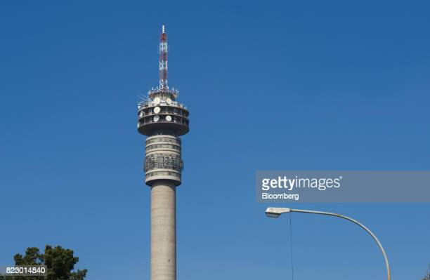Communications dishes and devices sit on the Hillbrow Tower operated by Telkom SA SOC Ltd in Pretoria South Africa on Tuesday July 25 2017 South...
