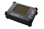 Communications media analyzer, nettest. Device for diagnosing the integrity of  optical lines, finding the broken optical cable, measuring the distance to the damage to the network. Isolated, white ba