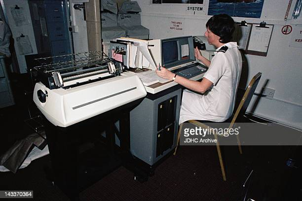 Communications on board the Cunard liner 'RMS Queen Elizabeth 2' which has been requisitioned as a British troopship during the Falklands War May 1982