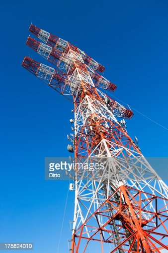 Communications tower, low angle view