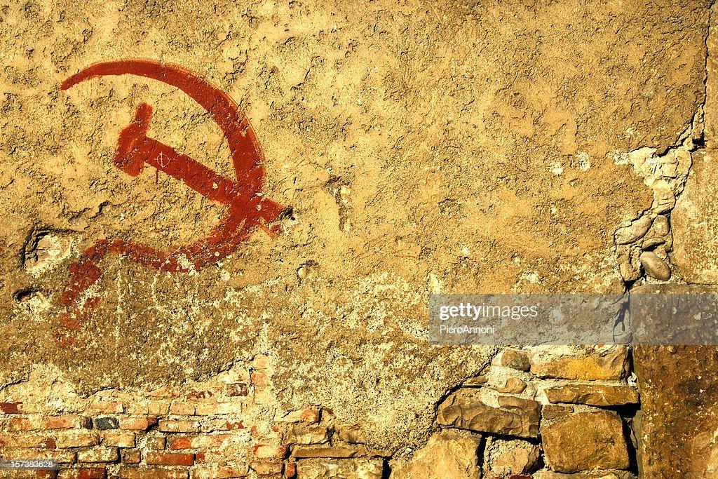 Communism symbol graffiti ruined