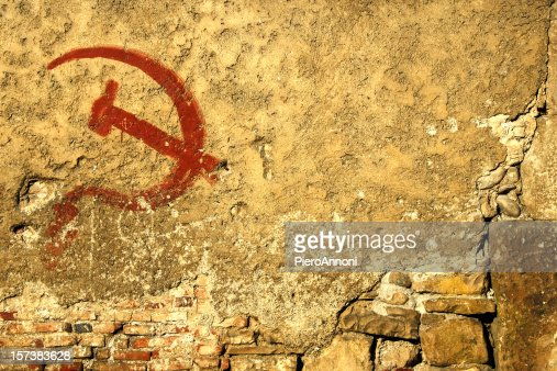 Communism symbol graffiti ruined