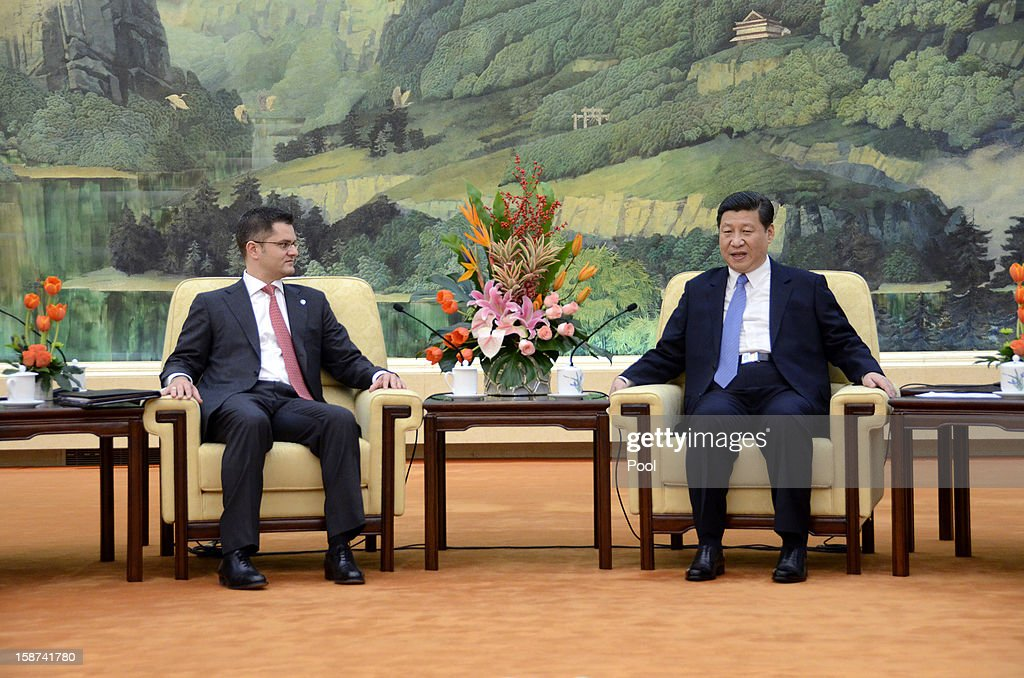 Communist Party leader <a gi-track='captionPersonalityLinkClicked' href=/galleries/search?phrase=Xi+Jinping&family=editorial&specificpeople=2598986 ng-click='$event.stopPropagation()'>Xi Jinping</a> meets with <a gi-track='captionPersonalityLinkClicked' href=/galleries/search?phrase=Vuk+Jeremic&family=editorial&specificpeople=4292588 ng-click='$event.stopPropagation()'>Vuk Jeremic</a> (L), president of the 67th Session of the UN General Assembly, at the Great Hall of the People on December 27, 2012 in Beijing, China. UN General Assembly President <a gi-track='captionPersonalityLinkClicked' href=/galleries/search?phrase=Vuk+Jeremic&family=editorial&specificpeople=4292588 ng-click='$event.stopPropagation()'>Vuk Jeremic</a> is visiting China through December 28.