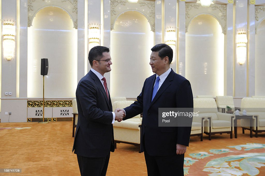 Communist Party leader <a gi-track='captionPersonalityLinkClicked' href=/galleries/search?phrase=Xi+Jinping&family=editorial&specificpeople=2598986 ng-click='$event.stopPropagation()'>Xi Jinping</a> (R) shakes hands with <a gi-track='captionPersonalityLinkClicked' href=/galleries/search?phrase=Vuk+Jeremic&family=editorial&specificpeople=4292588 ng-click='$event.stopPropagation()'>Vuk Jeremic</a> (L), president of the 67th Session of the UN General Assembly, at the Great Hall of the People on December 27, 2012 in Beijing, China. UN General Assembly President <a gi-track='captionPersonalityLinkClicked' href=/galleries/search?phrase=Vuk+Jeremic&family=editorial&specificpeople=4292588 ng-click='$event.stopPropagation()'>Vuk Jeremic</a> is visiting China through December 28.