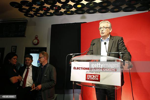 Communist Party National Secretary Pierre Laurent delivers a speech on May 25 2014 under the eyes of French leftwing party 'Parti de Gauche'...