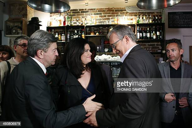 Communist Party National Secretary Pierre Laurent speaks with French leftwing party 'Parti de Gauche' copresident JeanLuc Melenchon and Left Party's...