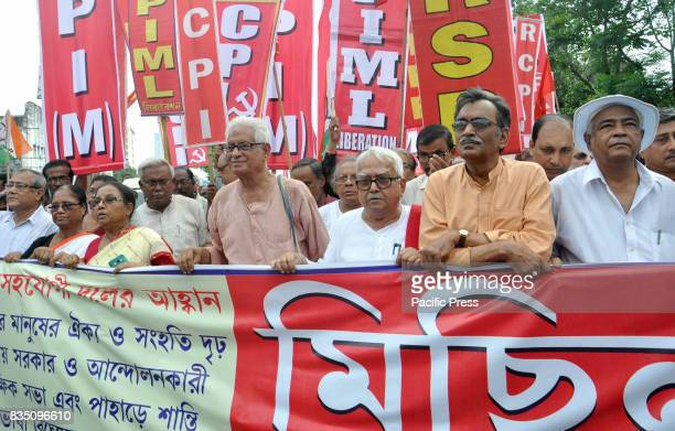 Communist Party of India State Secretary Surya Kanta Mishra Left front Chairman Biman Bose with left leaders takes part in this rally Left parties...