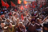 Communist Party of IndiaMarxist CPI supporters shout antistate and national government slogans during a demonstration in Amritsar on December 12 2013...