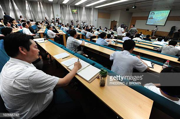 Communist party officials from across the country attend a lecture at the Central Party School of the Communist Party in Beijing on June 30 2010 Also...