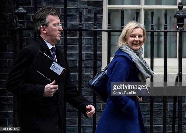 Communities and Local Goverment Secretary Greg Clark and International Development Secretary Justine Greening leave after a cabinet meeting at...