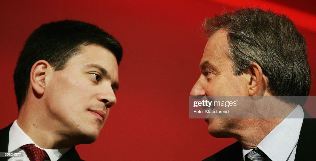 Communities and Local Government Minister, David Miliband, talks with Prime Minister Tony Blair at the Labour Party conference on September 29, 2005 in Brighton, England. The six day conference ended today with speeches and the singing of traditional Labour anthem The Red Flag.