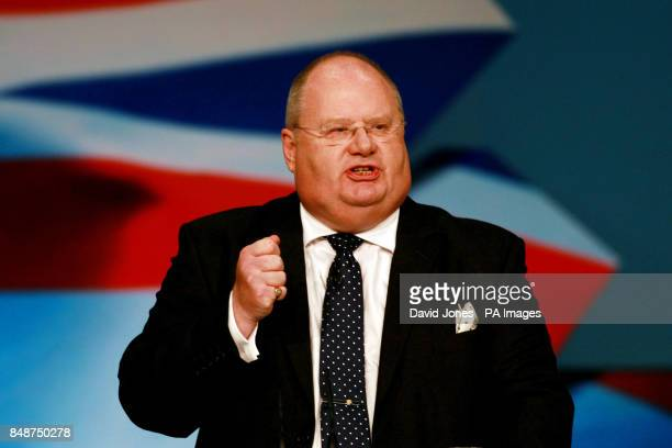 Communities Secretary Eric Pickles addresses today's session of the Conservative Conference at Birmingham's International Convention Centre