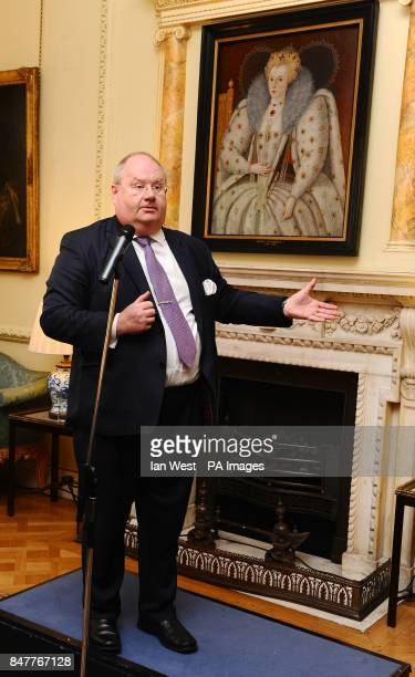 Communities Secretary Eric Pickles speaks at a reception at 10 Downing Street in London during an announcement for the next steps being taken to help...