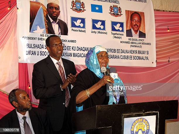Community activist Madina Amir speaks with other members of the Somali community in Nairobi to welcome the approval of Somali prime minister Mohamed...