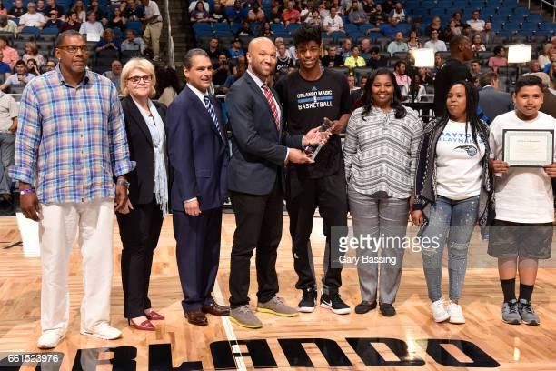 Community Assist Award Presentation awarded to Elfrid Payton of the Orlando Magic before the game against the Oklahoma City Thunder on March 29 2017...