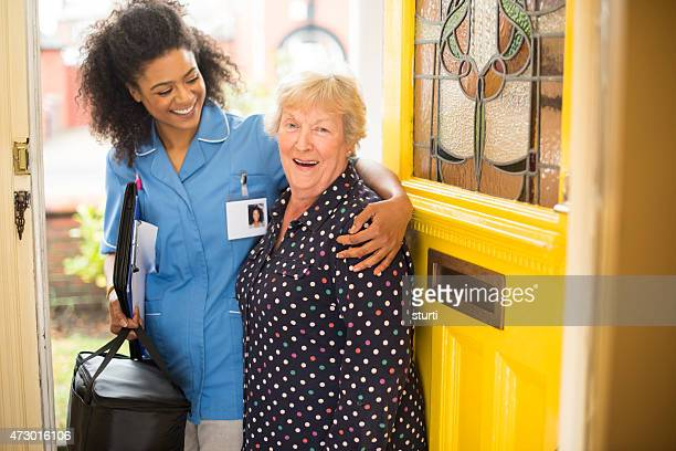 community care nurse with senior patient