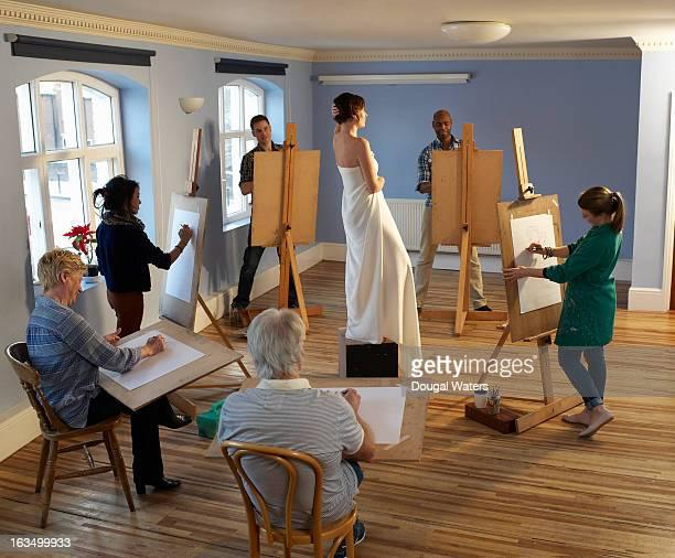 A community group art class.