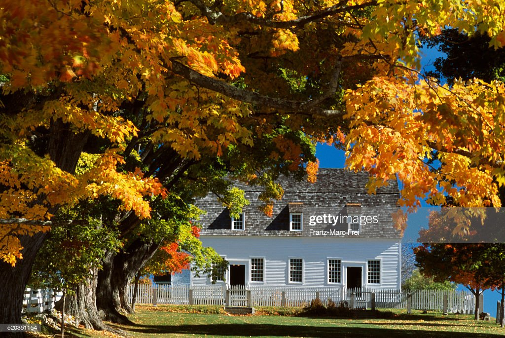 Community House of Canterbury Shaker Village in Autumn