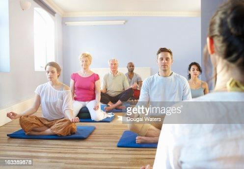 Community meditation group.