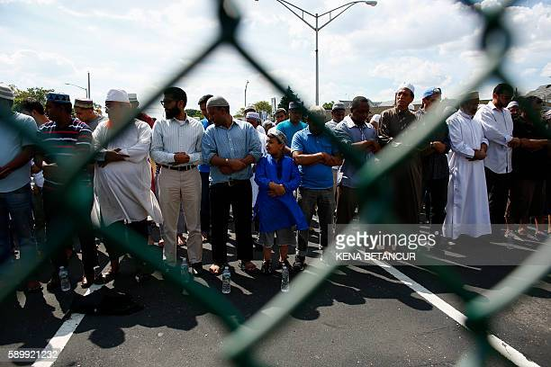 Community members gather for funeral prayers for Imam Maulama Akonjee and friend Thara Uddin August 15 2016 in New York New York police were...