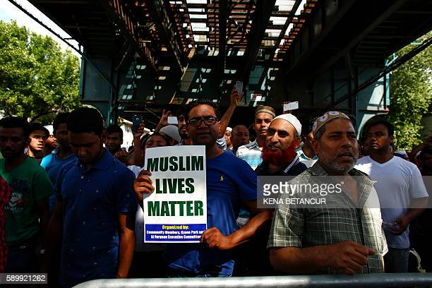 Community members march in protest in the streets after funeral prayers were given for Imam Maulama Akonjee and friend Thara Uddin August 15 2016 in...