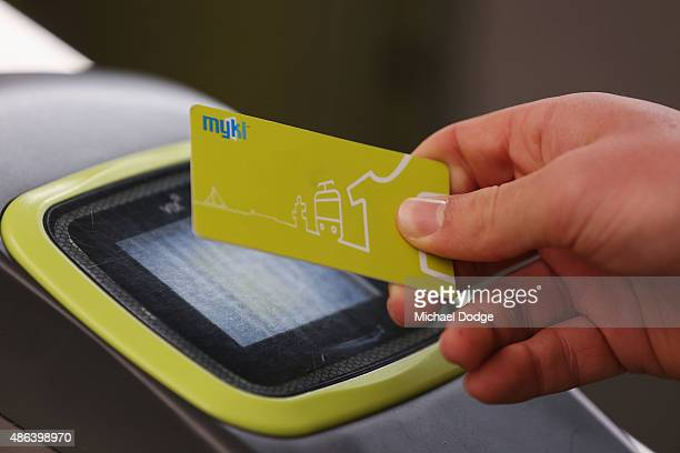 A commuter at Flinders Street Station swipes a Myki card shortly before Train Union workers start their strike on September 4 2015 in Melbourne...