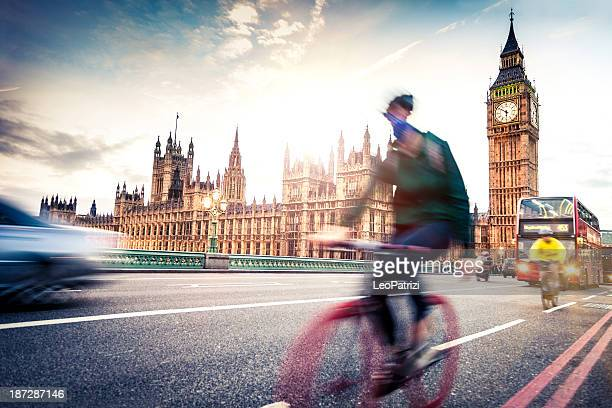 Commuter back home on Westminster Bridge