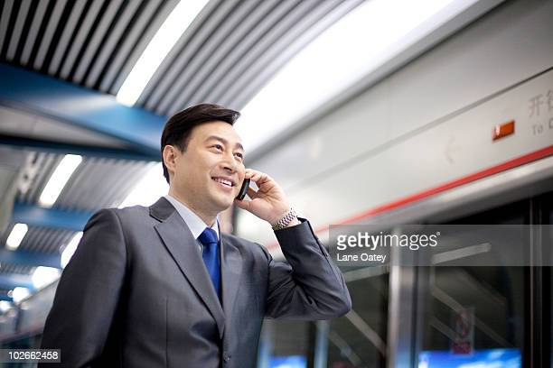 Commuter on the phone