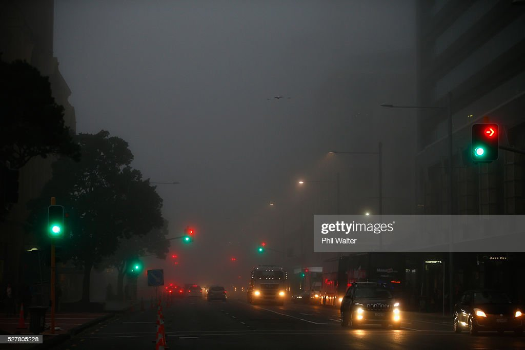 Commuter traffic under a blanket of fog over Auckland City on May 4, 2016 in Auckland, New Zealand. The morning fog disrupted flights and ferry services in the city.