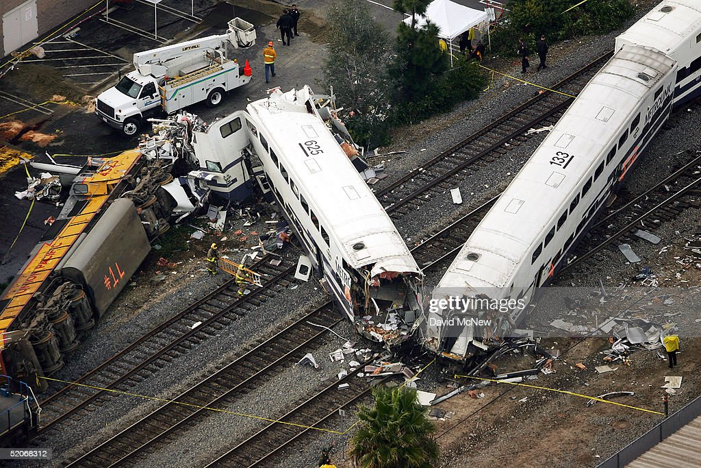 A commuter train wreck is seen from above on January 26 2005 in Glendale California The wreck involving two commuter trains carrying hundreds of...