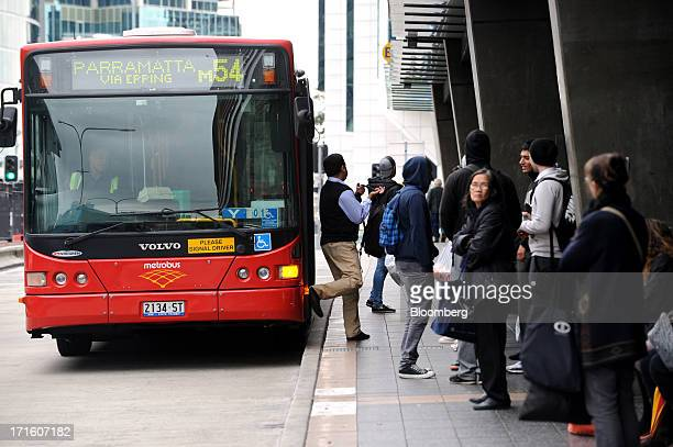 Commuters alight from a bus outside Parramatta train station in western Sydney Australia on Monday June 24 2013 Chris Bowen a key backer of returned...