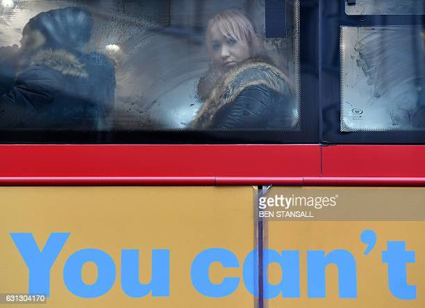 Commuters are seen on a bus on London Bridge in London on January 9 2017 during a 24hour tube strike A strike on the London Underground caused major...