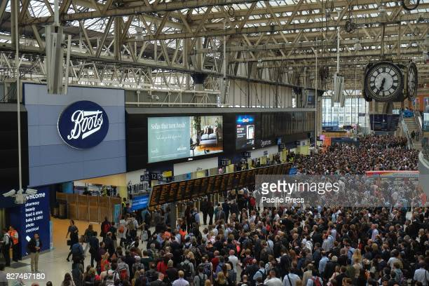 Commuters at Waterloo Station on 7th August 2017 at evening rush hour as engineering work continues on Platform 1 10 throughout August causing major...