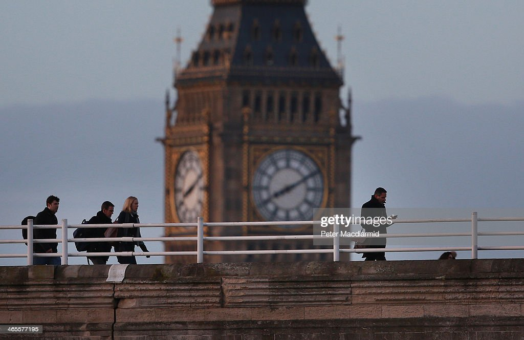 Commuters cross Waterloo Bridge in sight of Big Ben on January 28, 2014 in London, England. A new report suggests that one out of three 22 to 30 year olds leave their home town to seek work in the capital which creates ten times as many private sector jobs as any other city.