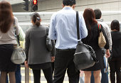Commuters Crossing Busy hong kong ethnicity, Street