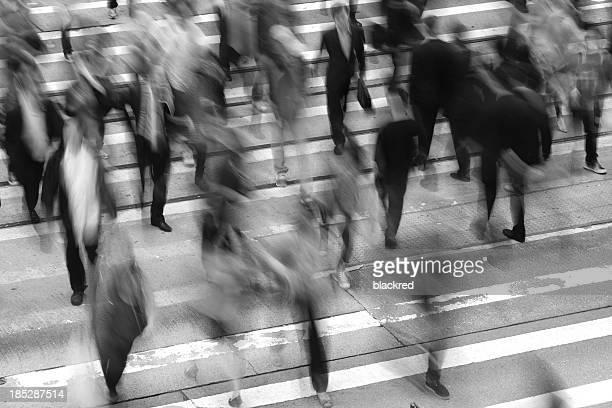 Commuters Crossing Street