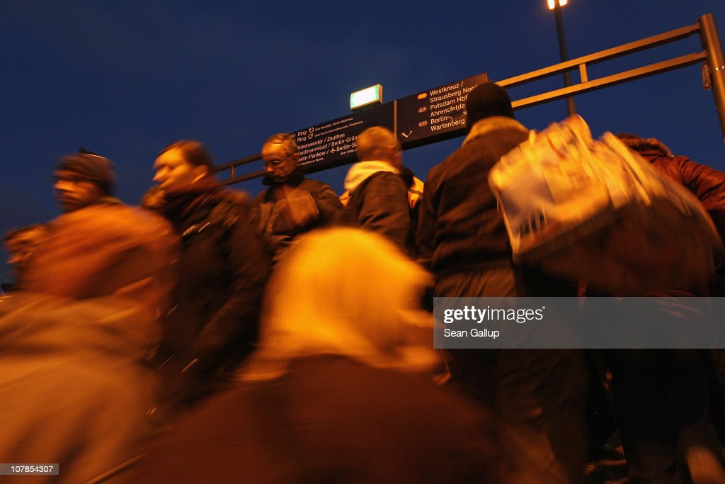 Commuters crowd a train platform of the Berlin S-Bahn commuter rail network on January 3, 2011 in Berlin, Germany. According to media reports out of the S-Bahn's 1,100 train cars only 426 are in service. The others, according to S-Bahn officials, are in repair due to damage caused by the early and harsh winter weather this year. The shortfall in operating trains has led to longer waits for commuters and, in some cases, cancelled service to outlying districts altogether. The Berlin S-Bahn, a subsidiary of the German state rail carrier Deutsche Bahn, has been unable to keep its full fleet of trains operational for the last two years, and critics charge the shortfalls are due to inadequate investment in facilities and personnel.