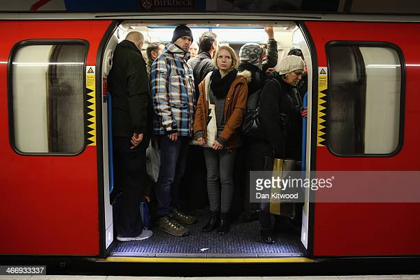 Commuters crowd on to a tube at Oxford Street station on February 5 in London England Today marks the first full day of a 48 hour strike by London...