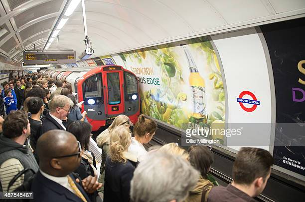 Commuters crowd the platform at Oxford Circus waiting for the train on day two of a planned 48 hour underground train strike disrupting thousands of...