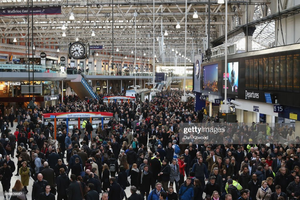 Commuters crowd Waterloo Station on February 5 in London England Today marks the first full day of a 48 hour strike by London underground workers...