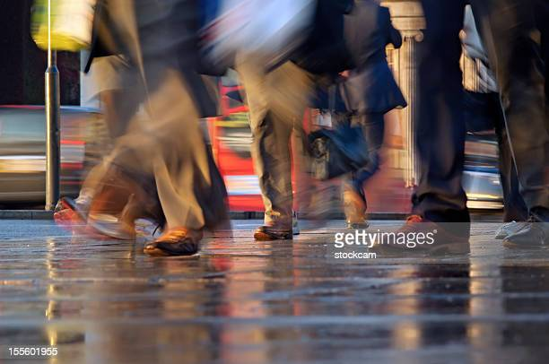 Commuters feet walking with movement blur