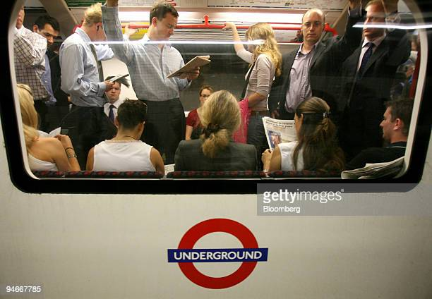 Commuters fill a London Underground train at Oxford Circus Station in London UK Thursday July 6 2006 A year after suicide bombers killed 52 people on...