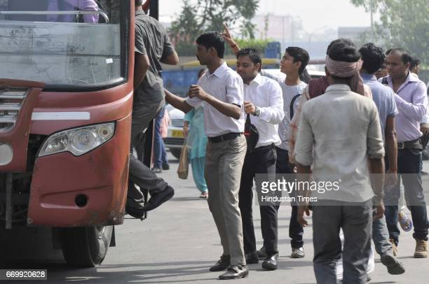 Commuters had to rely on buses and metro service in the wake of ola and uber cab drivers' strike across DelhiNCR on April 18 2017 in Noida India The...