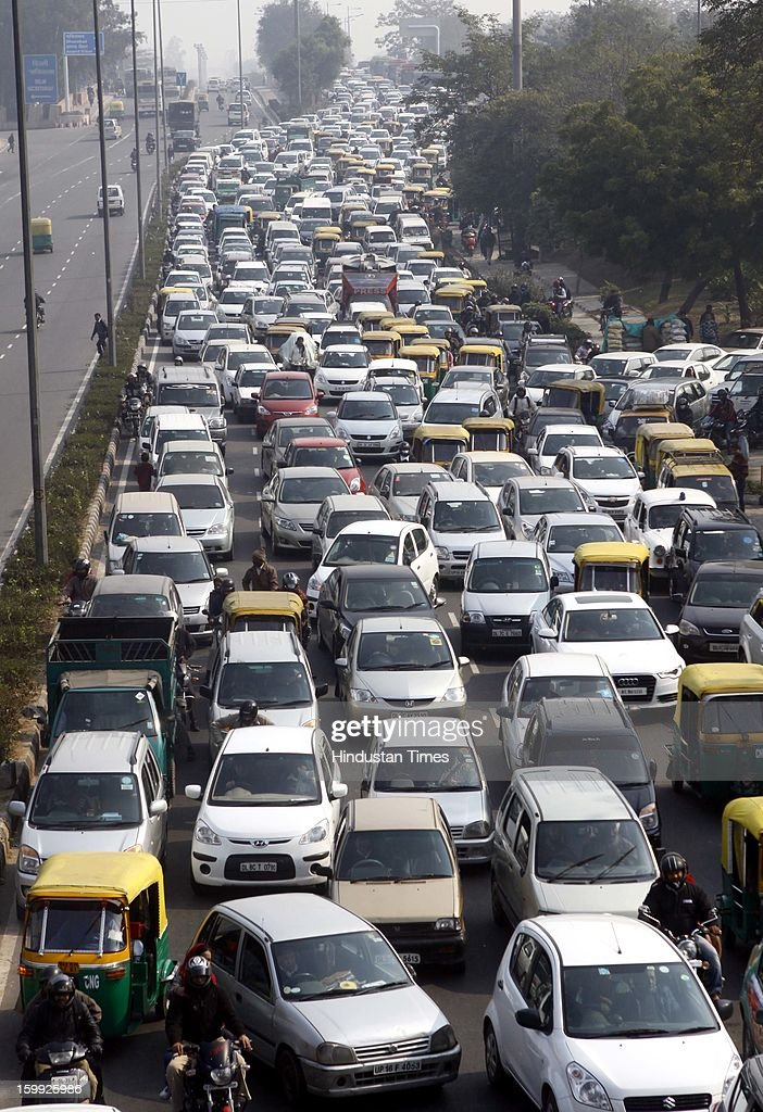 Commuters had to wait for traffic to open for some time after the Republic Day Reharsal was over, At Vikas Marg on January 23, 2013 in New Delhi, India. India is celebrating its 64th Republic Day this year.