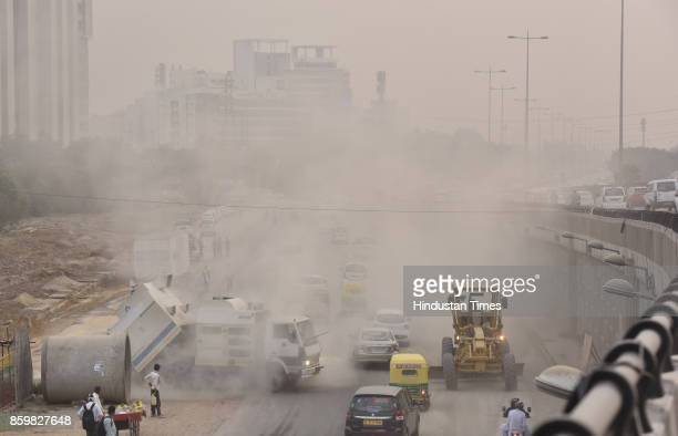 Commuters having difficult time while crossing the stretch near Signature Tower due to ongoing constructions The pollution level has increased...
