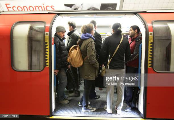 Commuters in a train carriage on King's Cross station during the London Underground workers strike over planned job cuts and ticket office closures...