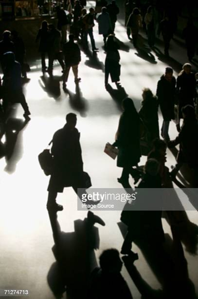 Commuters in silhouette